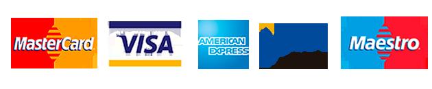 Logos Master Card, Visa y American Express