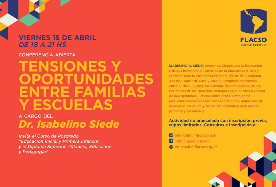 Conferencia abierta: Tensiones y oportunidades entre familias y escuelas