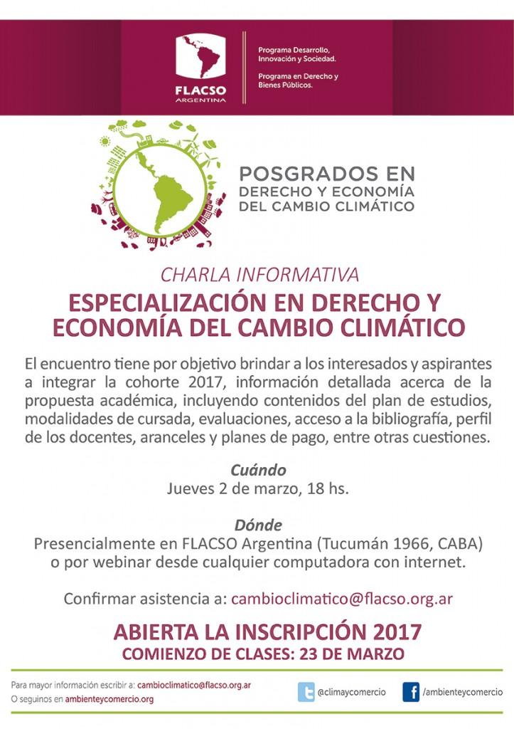 Especialización en Derecho y Economía del Cambio Climático: Charla informativa